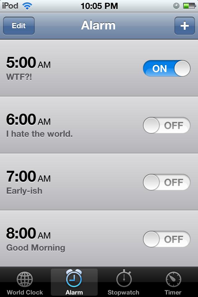 Descriptive iOS alarm names